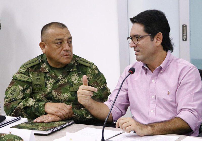 El Gobernador del Meta Juan Guillermo Zuluaga y el Ministro de Defensa, realizaron un Consejo de Seguridad
