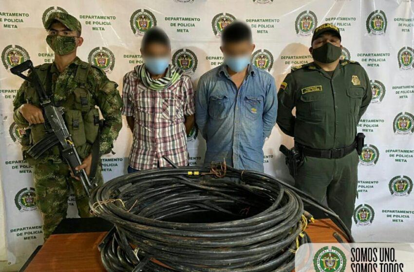 Asegurados 8 hombres y una mujer por hurto de cable en el Meta, Casanare y otras regiones del país