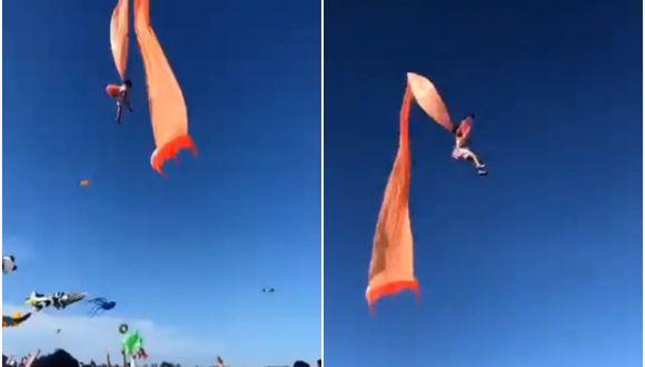[Video] Niña de 3 años quedó enganchada a cometa y voló varios segundos por el aire