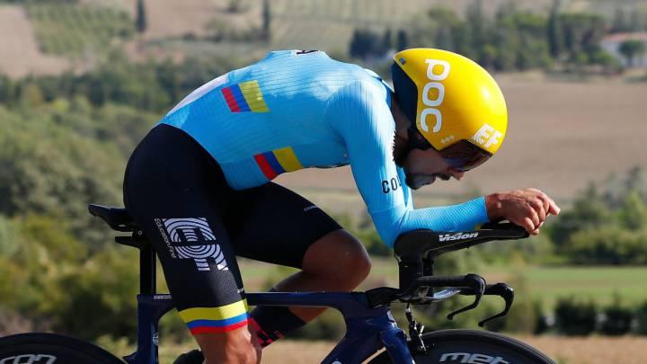 Daniel Martínez, 18° en contrarreloj del Mundial de Ciclismo; Filippo Ganna, campeón