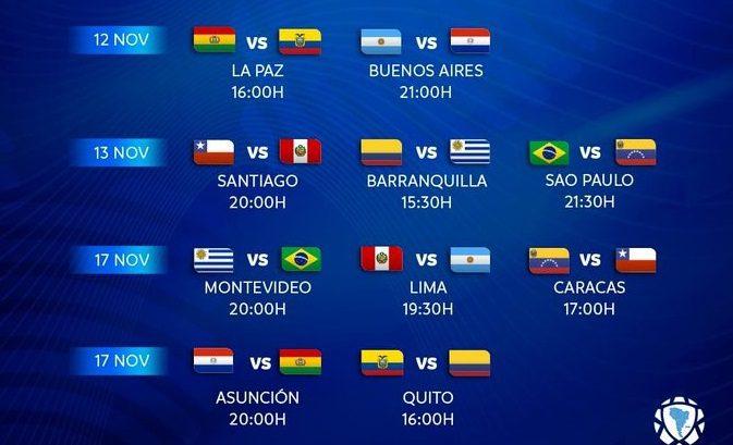 Horarios para tercera y cuarta fecha de la Eliminatoria suramericana