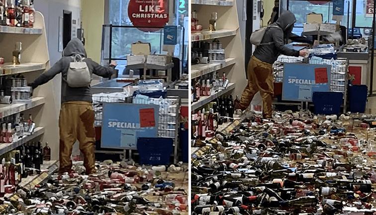 [Video] Mujer enloquece y destroza unas 500 botellas de licor en un supermercado