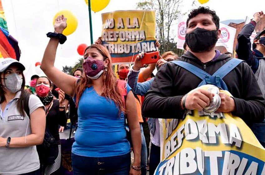 Colombianos muestran en las calles su firme rechazo a la reforma tributaria