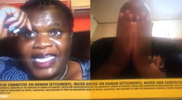 Esposa de alto dirigente político sin darse cuenta aparece desnuda cuando él intervenía por TV
