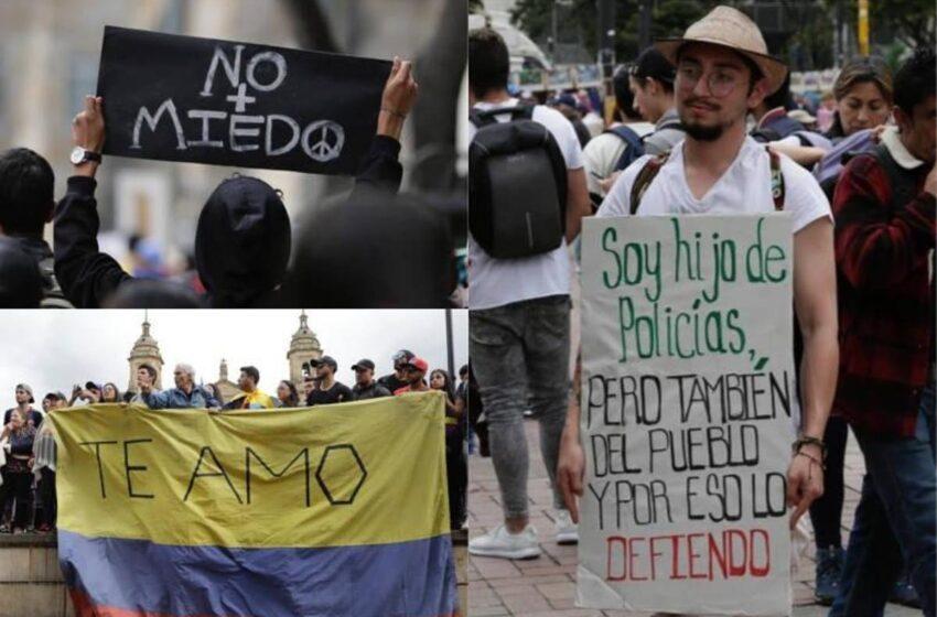 Los carteles hablan por los colombianos en las manifestaciones